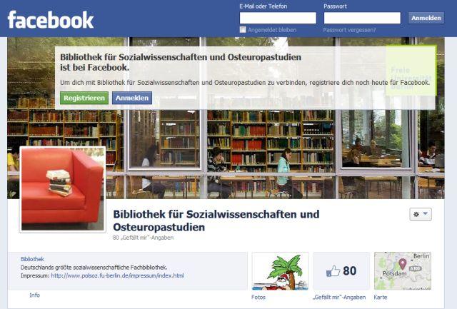 Die Bibliothek für Sozialwissenschaften und Osteuropastudien ist jetzt auf Facebook vertreten
