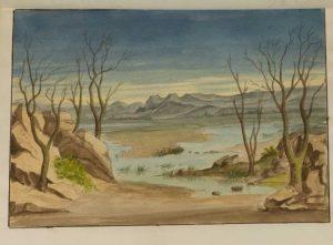 """Szenenbildentwurf für eine Aufführung von """"Macbeth"""" von Charles Kean (Royal Princess's Theatre, London, 1850-1859)."""