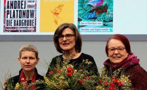 Preisträgerinnen 2017 (von li. nach re.): Eva Lüdi Kong, Barbara Stollberg-Rilinger und Natascha Wodin (Bild: Heike Huslage-Koch, Lizenz: CC-BY-SA-4.0)
