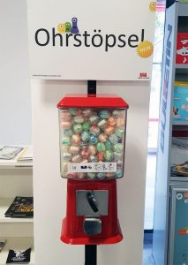 Ohrstöpsel-Automat im Foyer der Universitätsbibliothek (Bildquelle: Marc Spieseke)