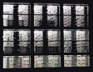 Detail des UB-Magazinturms am Morgen (Collage, Bildquelle: Marc Spieseke)