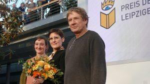 Preisträger 2019: v.l.n.r. Eva Ruth Wumme (Übersetzung), Anke Stelling (Belletristik) und Harald Jähner (Sachbuch/Essayistik). Bild: Amrei-Marie, Wikimedia Commons, Lizenz: CC-BY-SA-4.0