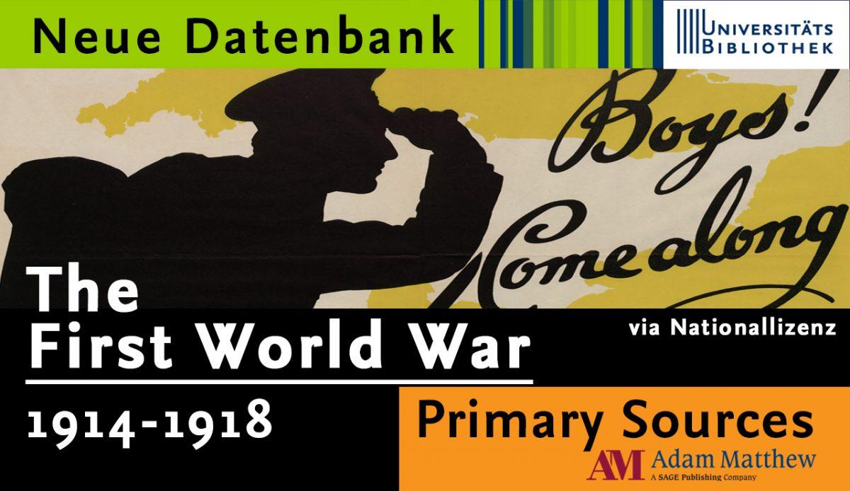 """Datenbank """"The First World War"""" via Nationallizenz verfügbar"""