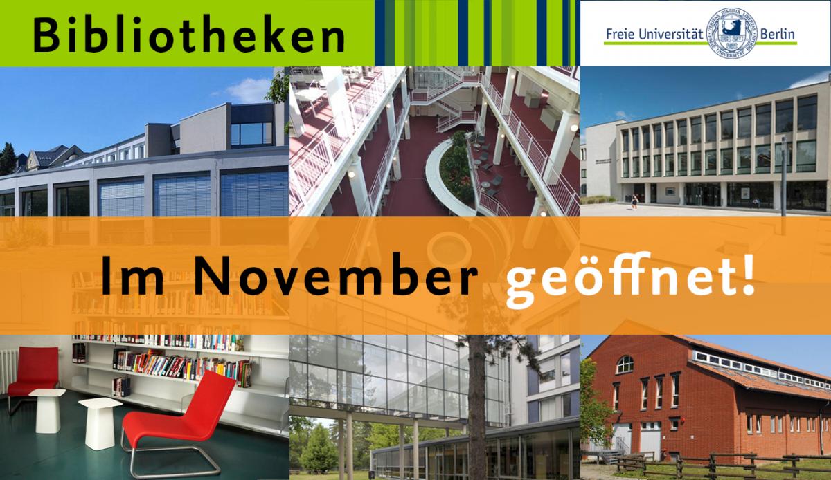 FU-Bibliotheken bleiben im November geöffnet