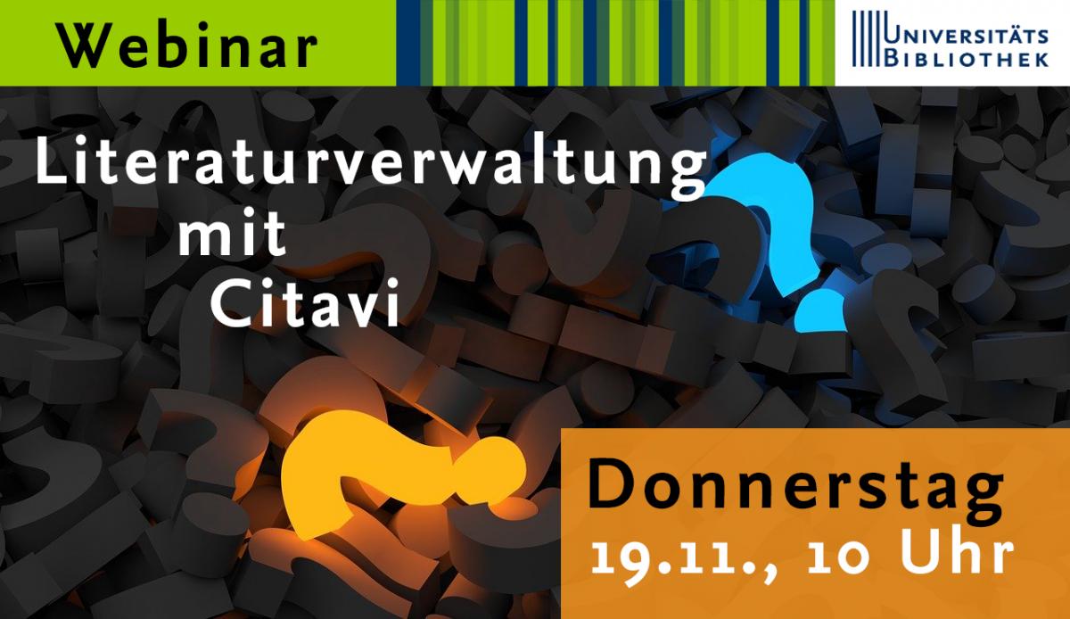 Neu strukturiertes Citavi-Webinar am 19. November