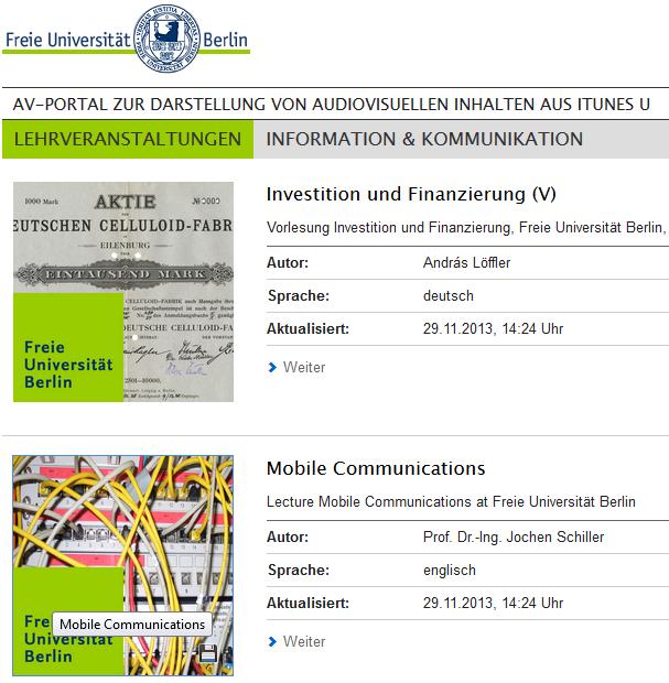 Freie Universität on iTunes U: Einsatz in der Praxis ...  Freie Universit...