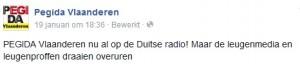 """Pegida Vlaanderen und die """"Lügenmedien"""" (Abb. der Facebookseite von Pegida Vlaanderen)"""