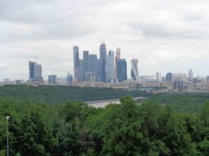 Blick auf die neue Moscow City von den Sperlingsbergen