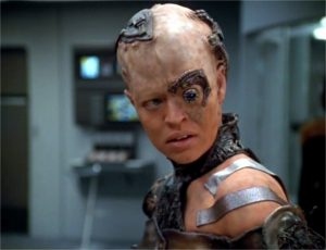 Seven of Nine, a borg made from a human recoding as a human