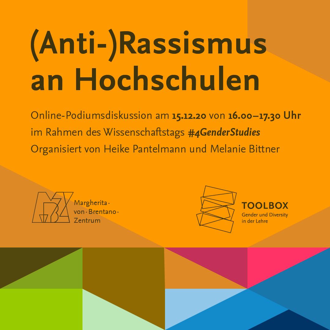 """Online-Podiumsdiskussion zu """"(Anti-)Rassismus an Hochschulen"""" am 15.12.2020"""